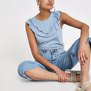 Blauw mouwloos T-shirt met ruches aan de kraag
