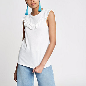 White frill bib sleeveless T-shirt