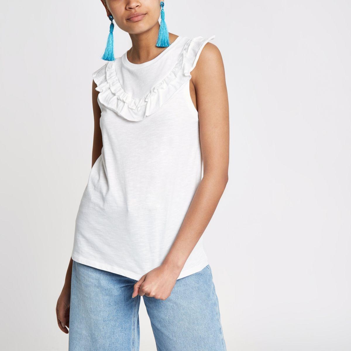 White frill bib sleeveless T-shirt