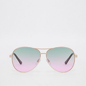 Gold tone green lens aviator sunglasses