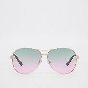 Goudkleurige pilotenzonnebril met groene glazen
