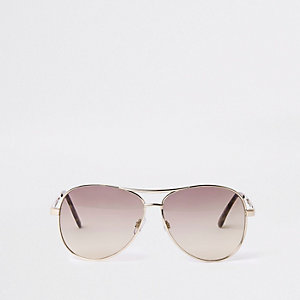 Gold tone smoke lens aviator style sunglasses