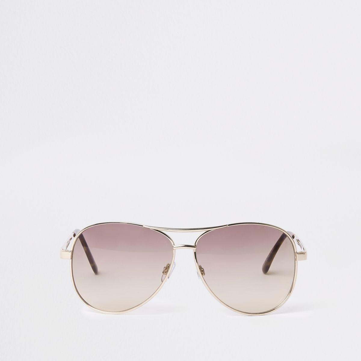 Gold tone smoke lens aviator style sunglasses