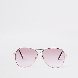 Gold tone pink lens aviator style sunglasses