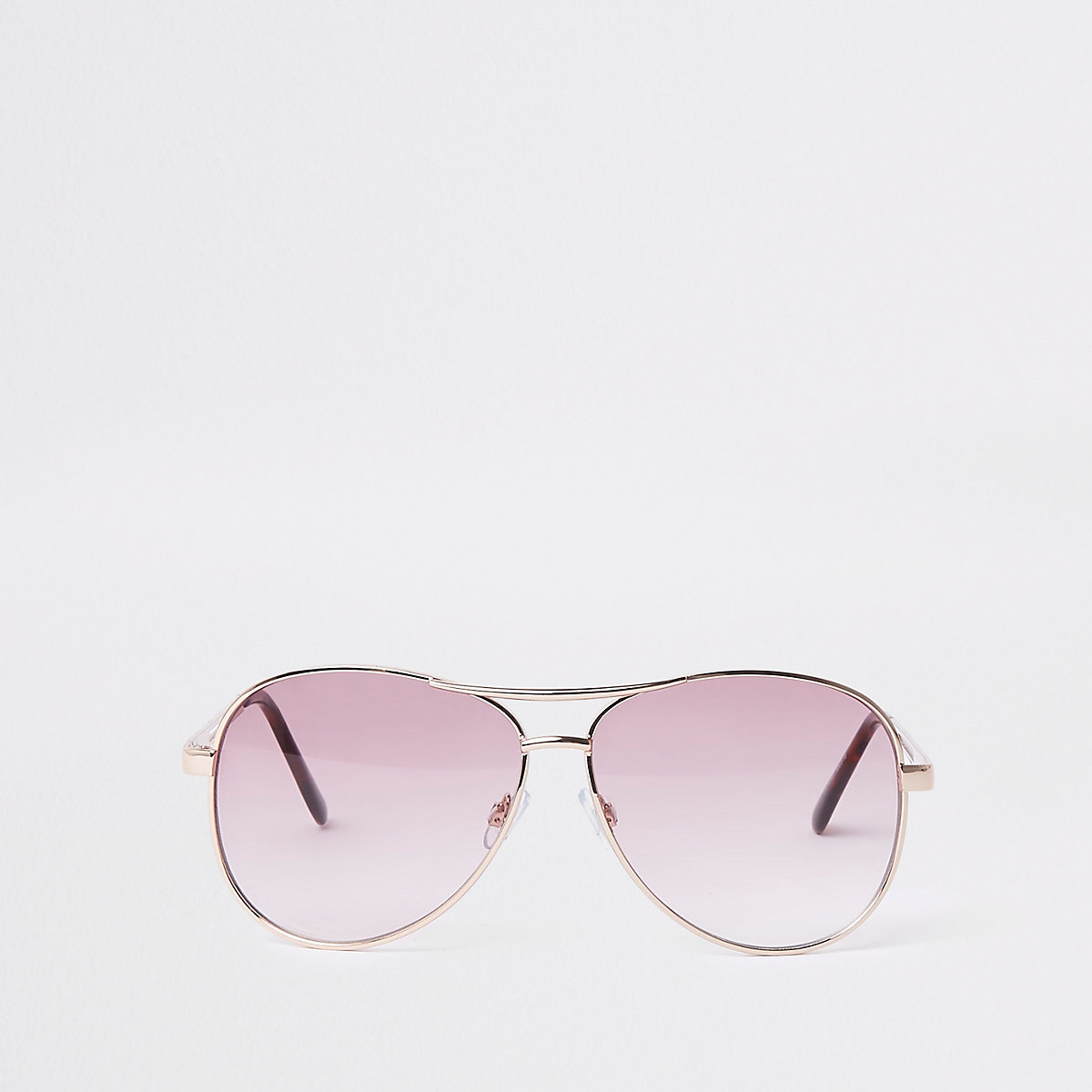 Gold tone pink lens aviator style sunglasses