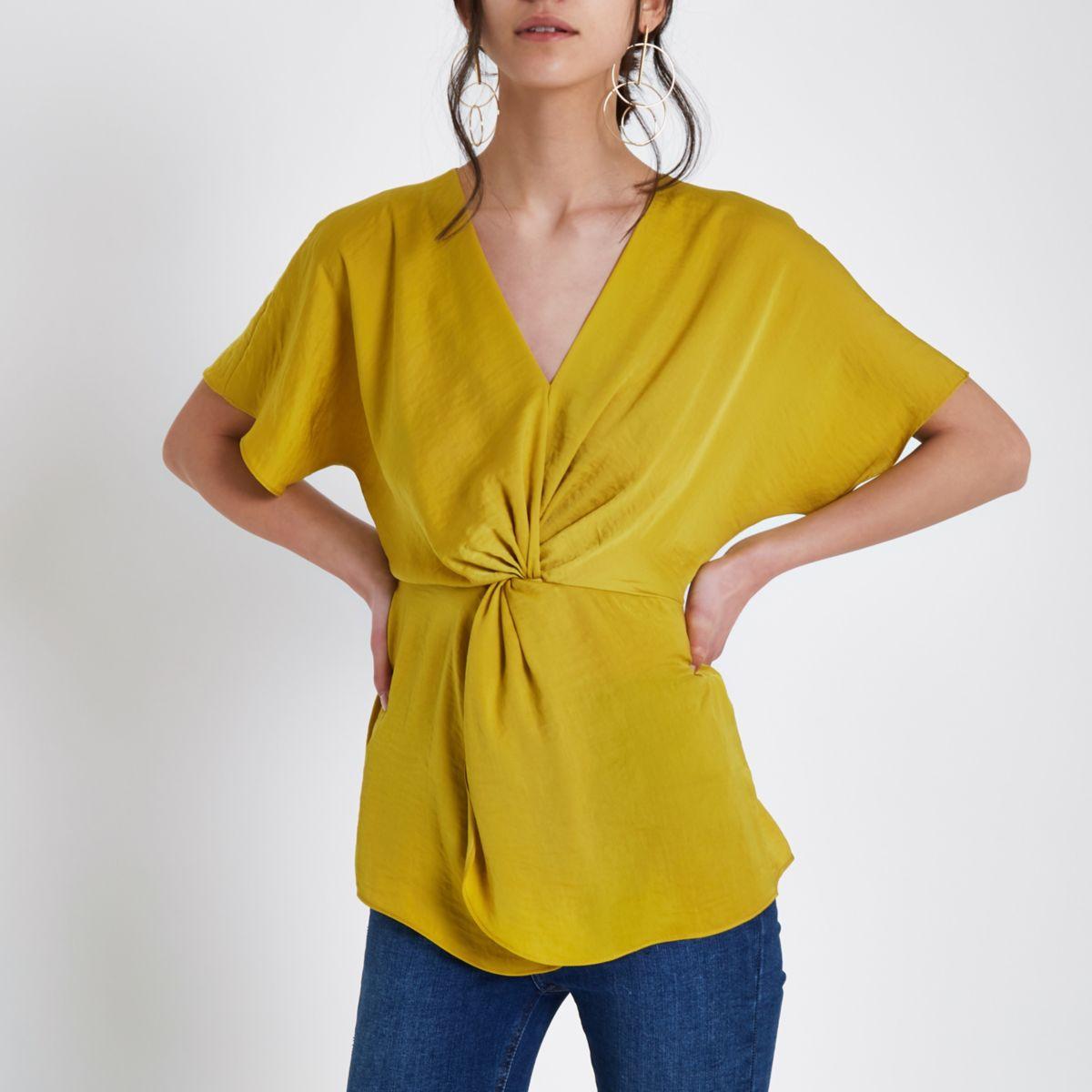 Dark yellow satin knot front shirt