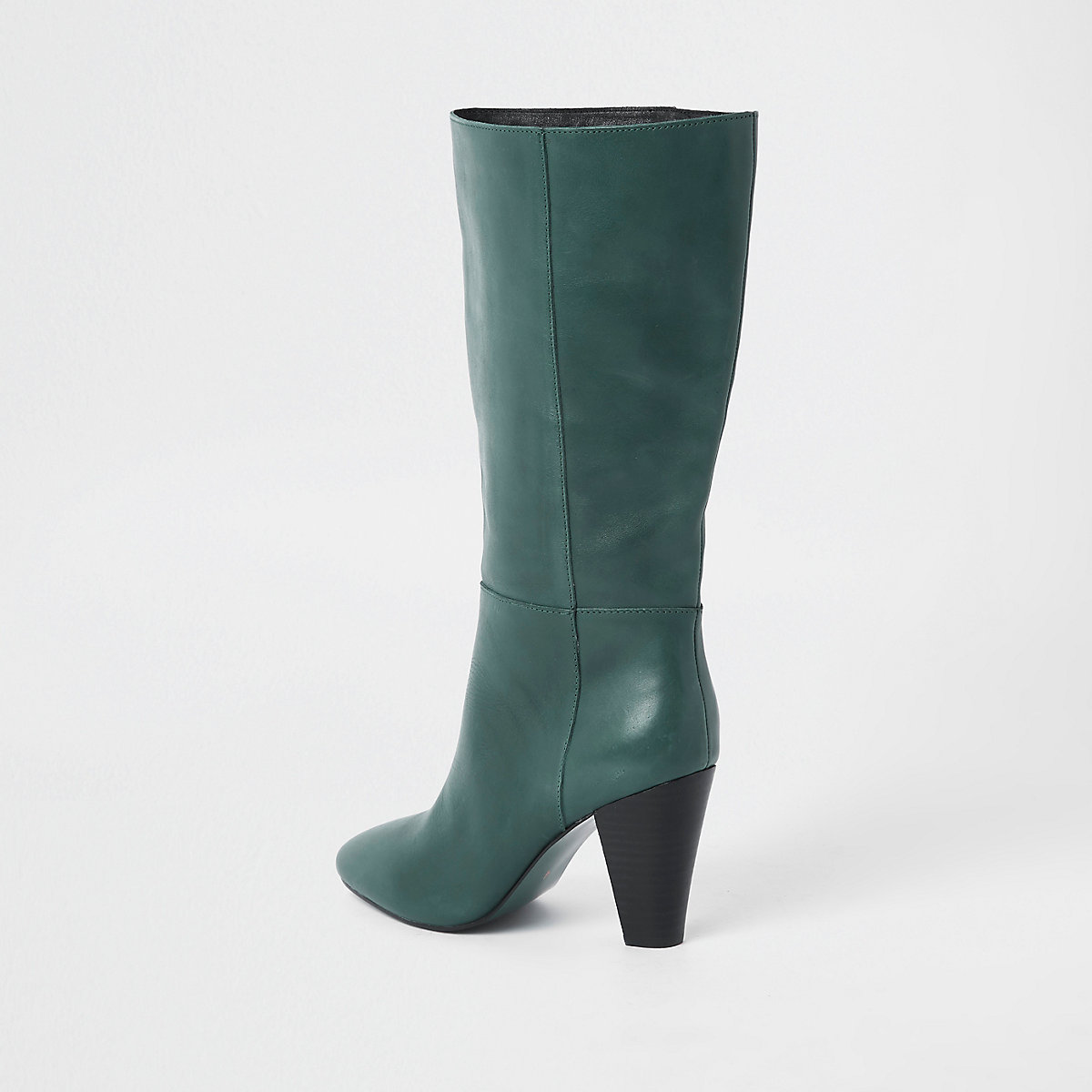 ... Groene leren kniehoge laarzen met blokhak ...