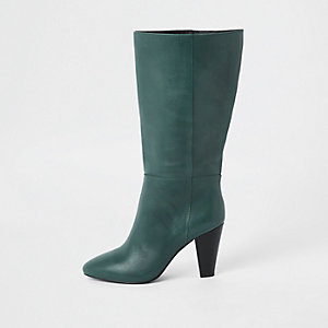 Green leather knee high block heel boots