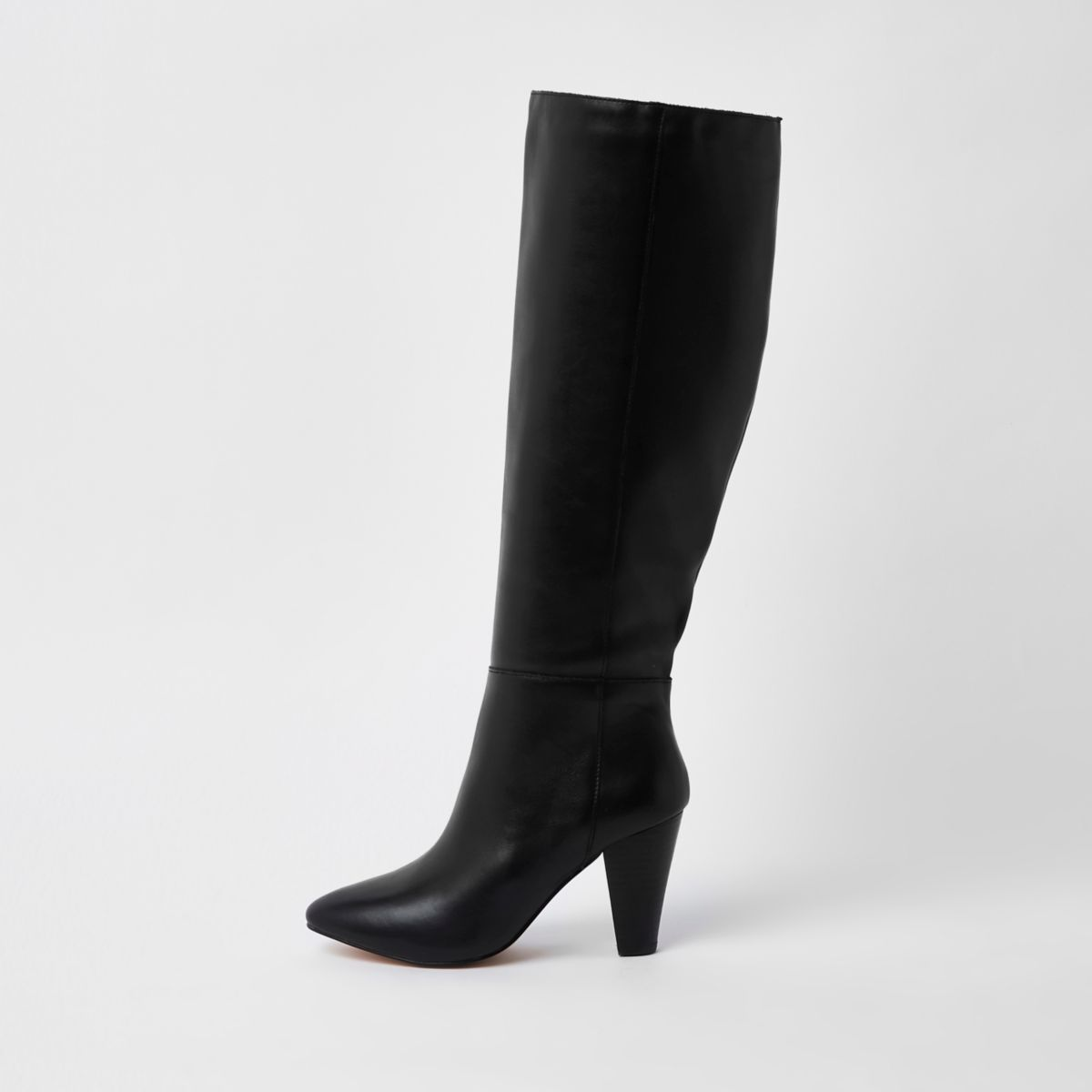 Black leather knee high block heel boots