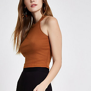 Brown ribbed halterneck crop top