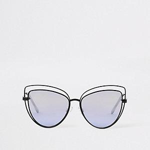 Black cut out cat eye sunglasses