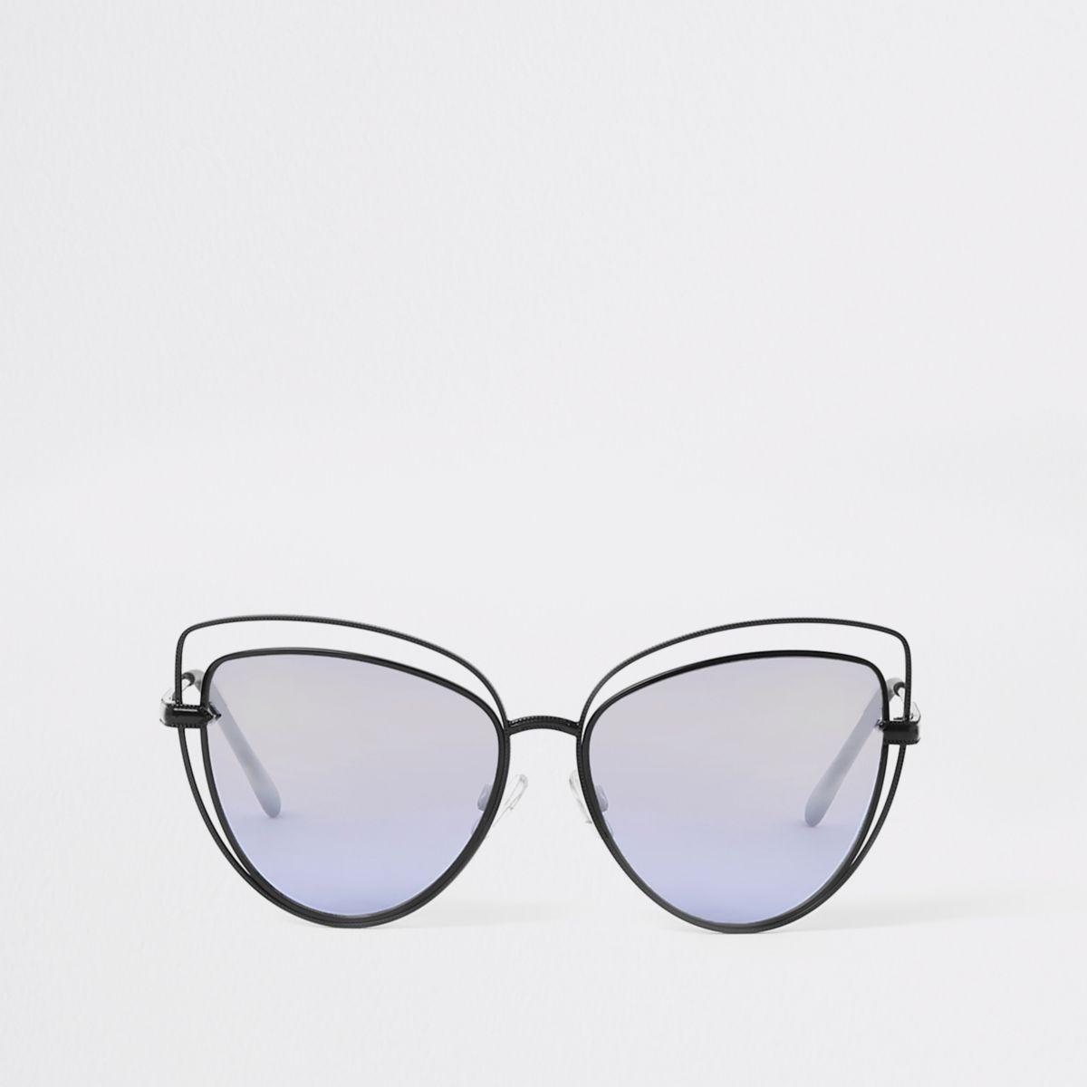 Zwarte cat-eye-zonnebril met uitsnede
