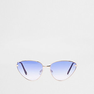 Gold tone blue lens cat eye sunglasses