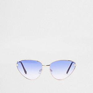 Lunettes de soleil yeux de chat dorées à verres bleus