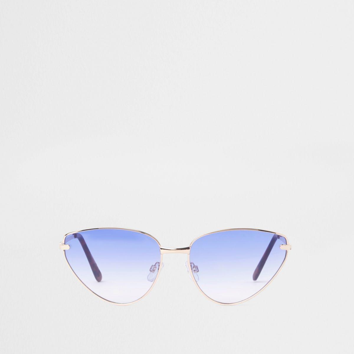Gold tone blue lens cat eye sunglasses