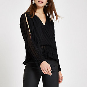 Petite black pleated wrap top