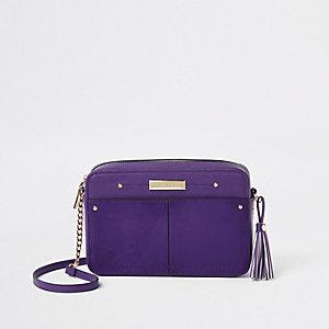 Sac bandouillère violet carré avec pampille