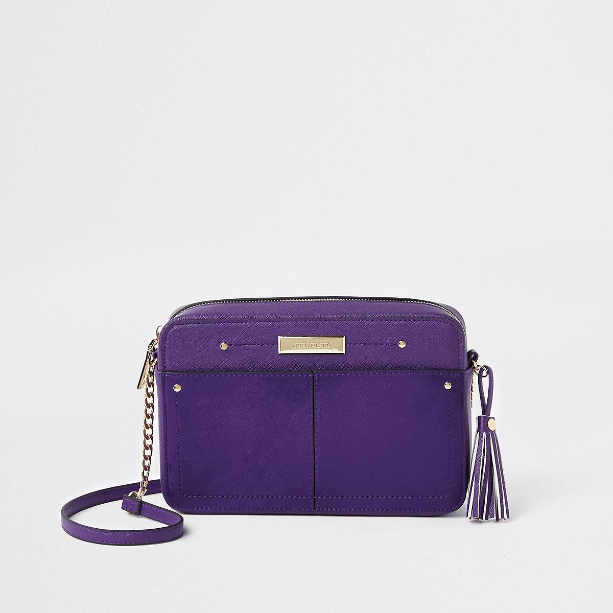 Purple tassel boxy cross body bag