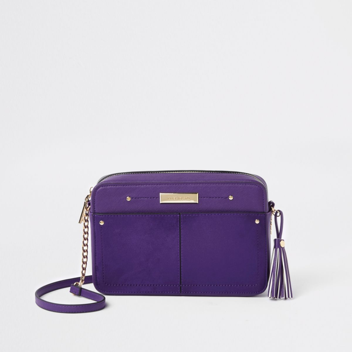 Purple tassel boxy cross body bag