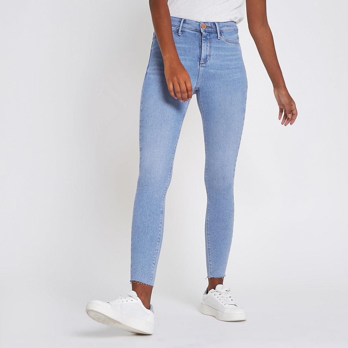 Blue frayed hem Molly mid rise jeggings