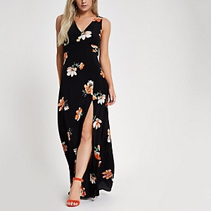 Petite black floral V neck maxi dress