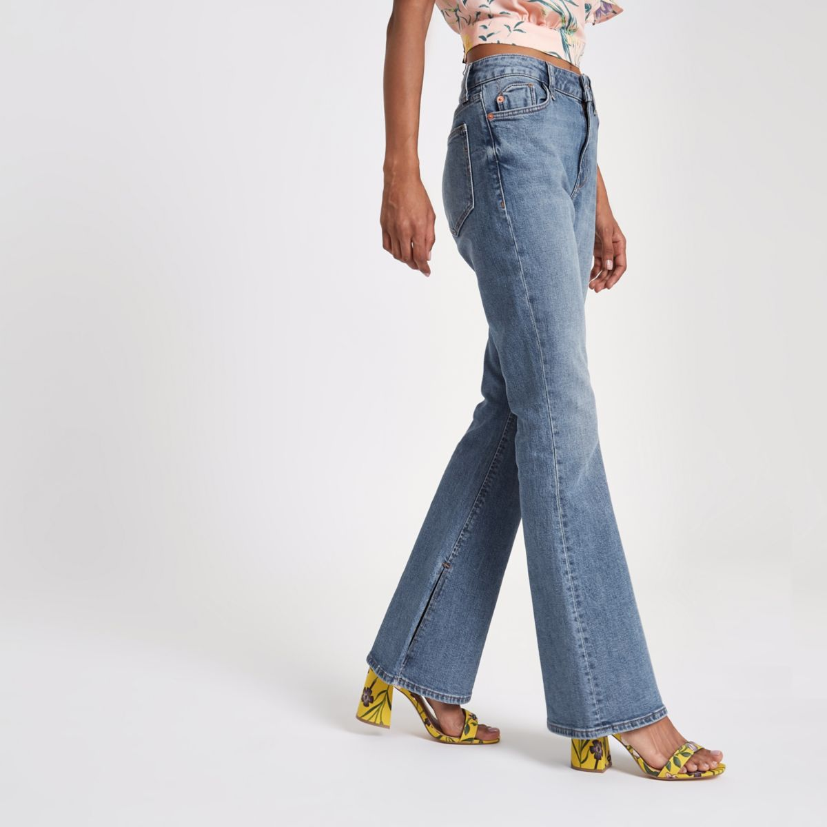 Petite blue wash flared jeans