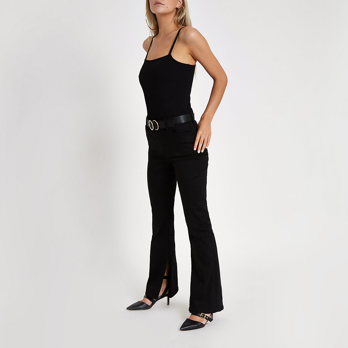 Petite black high rise flared jeans