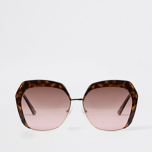 Bruine tortoise glamourzonnebril met roze glazen