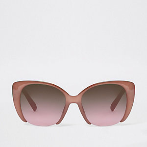 Pink cut out glam rose lens sunglasses