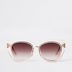 Beige plastic glam aviator sunglasses