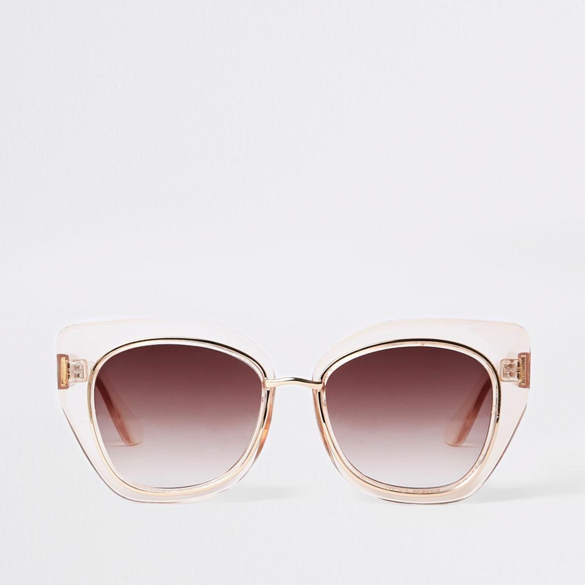 Beige glamoureuze plastic pilotenzonnebril
