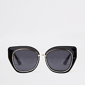 Black plastic glam aviator sunglasses