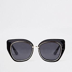 Lunettes de soleil aviateur en plastique noires glamour