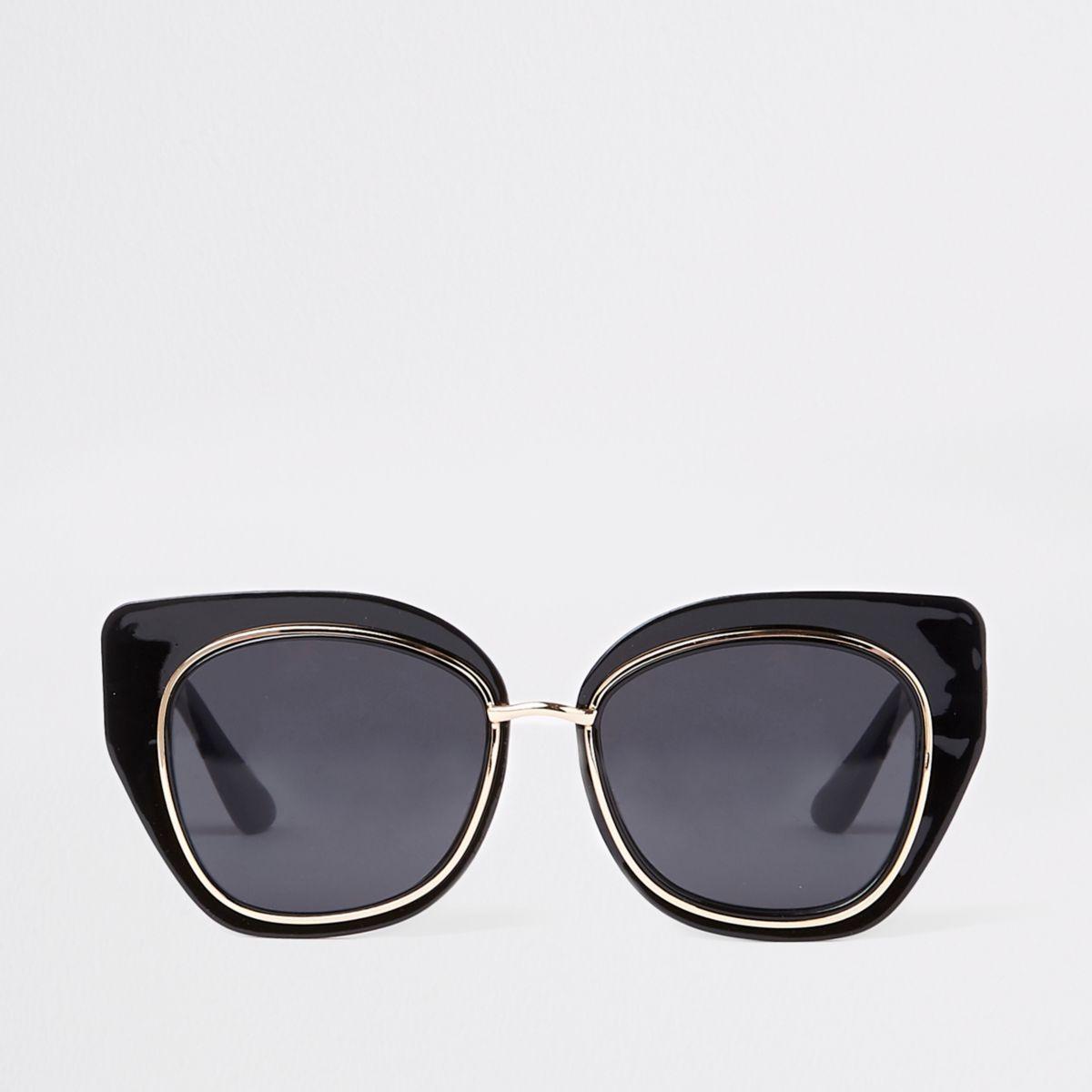 Black plastic glam aviator sunglasses
