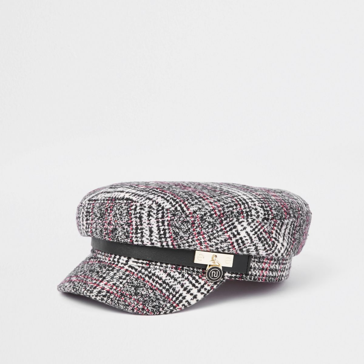 Black check padlock baker boy hat