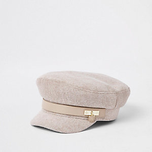 Beige marl padlock baker boy hat