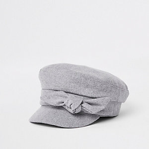 Grey bow detail baker boy hat