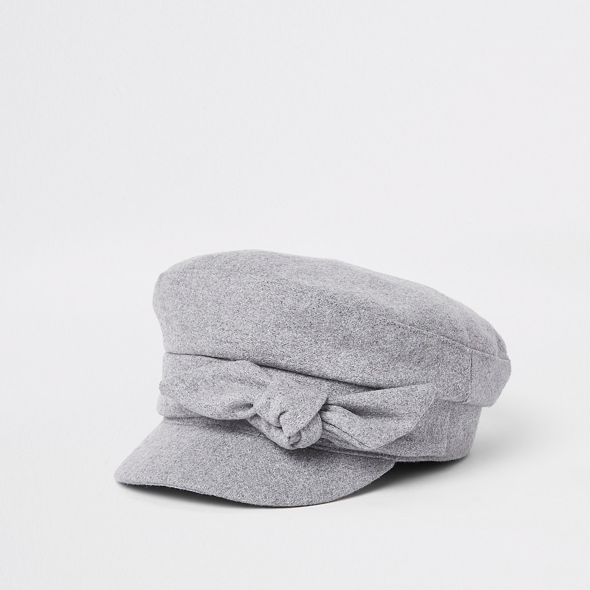 Grey bow detail baker boy hat