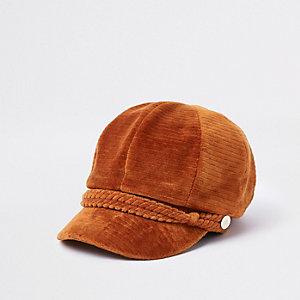 Rust cord backer boy hat