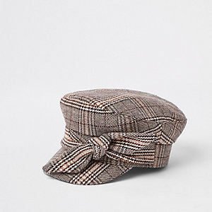 Brown check print bow baker boy hat