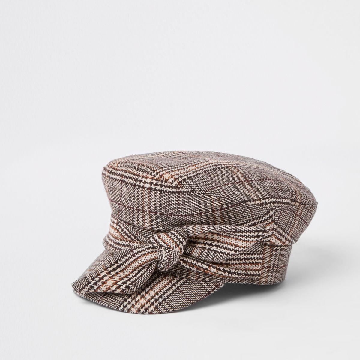 Brown check print bow baker boy hat