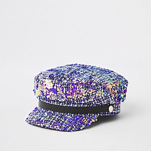 Grey tweed sequin baker boy hat
