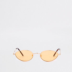 Gold tone slim oval yellow lens sunglasses