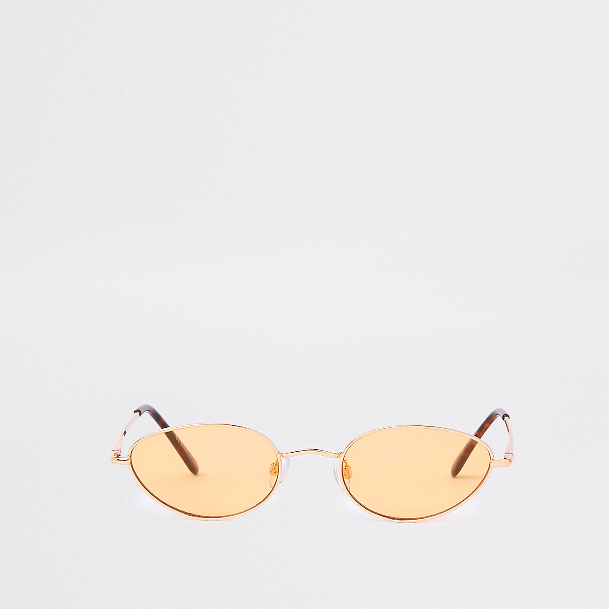 Gold tone slim oval yellow lens sunglasses