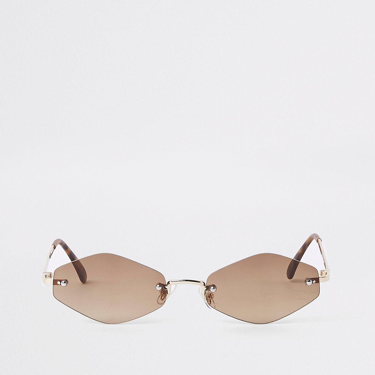 Gold tone slim hexagon sunglasses