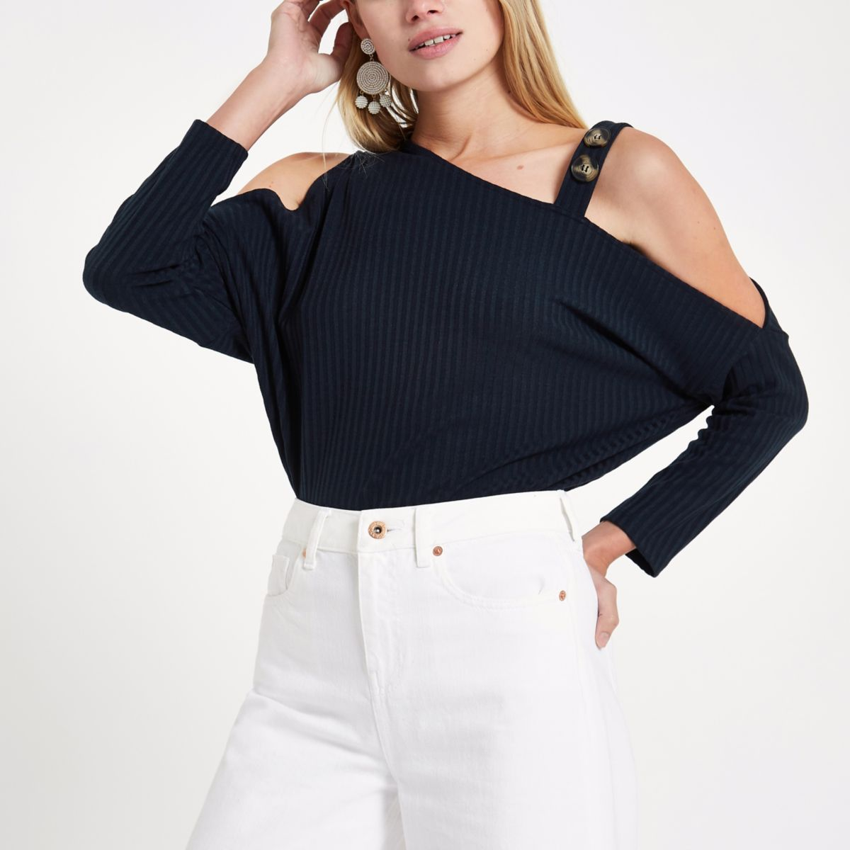 Navy cold shoulder button top