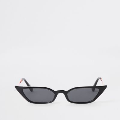 Black Super Slim Frame Pointed Sunglasses by River Island