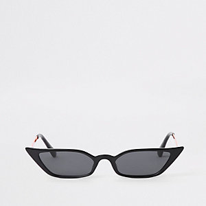 Black super slim frame pointed sunglasses