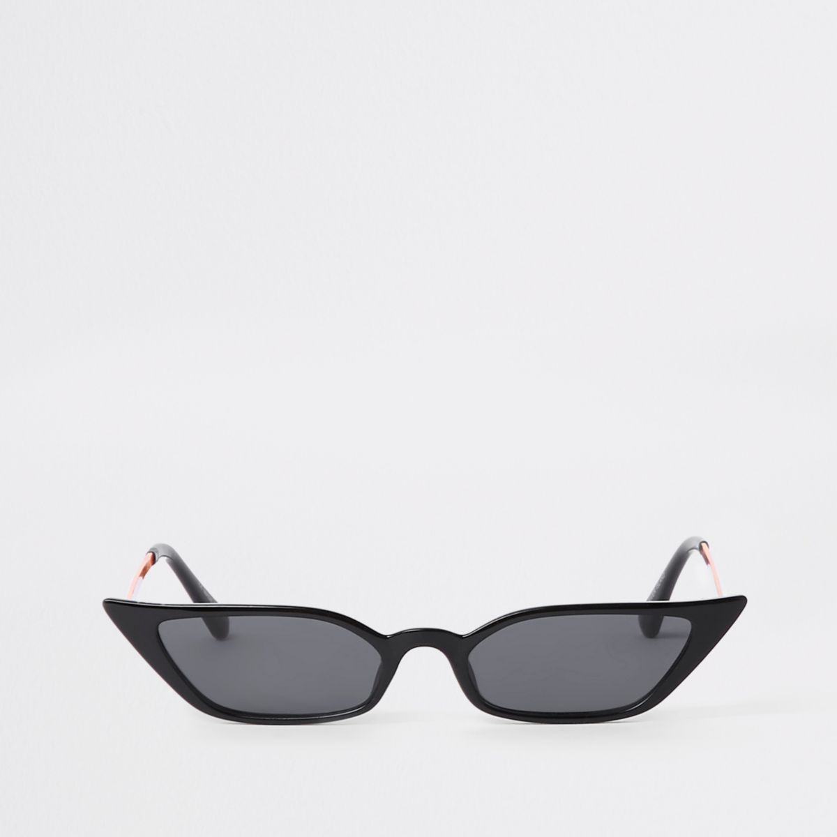 Black super slim frame pointed sunglasses
