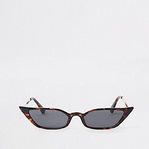 Braune Visor-Sonnenbrille mit Schildpatt